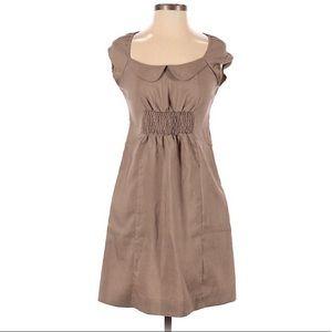 Maeve Anthropologie Taupe Peter Pan Collar Dress 8